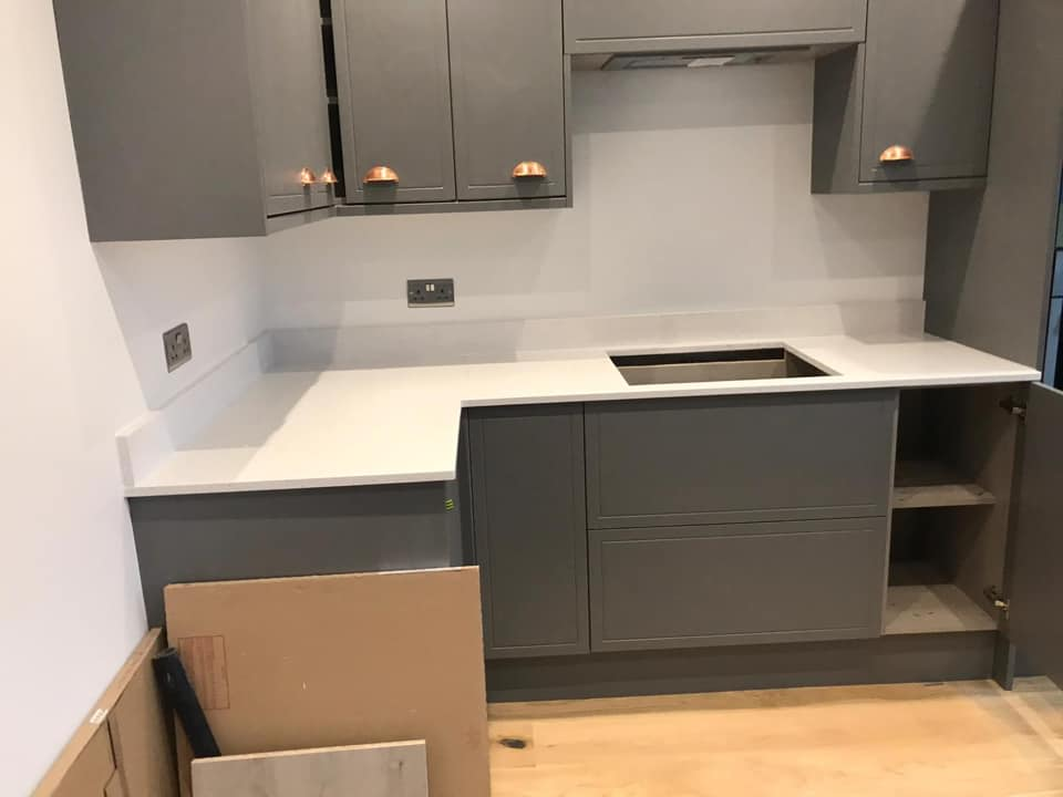 Grey and white kitchen fitted in Kent
